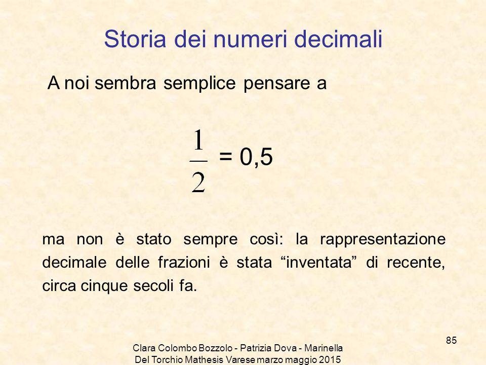 Clara Colombo Bozzolo - Patrizia Dova - Marinella Del Torchio Mathesis Varese marzo maggio 2015 Storia dei numeri decimali A noi sembra semplice pensa