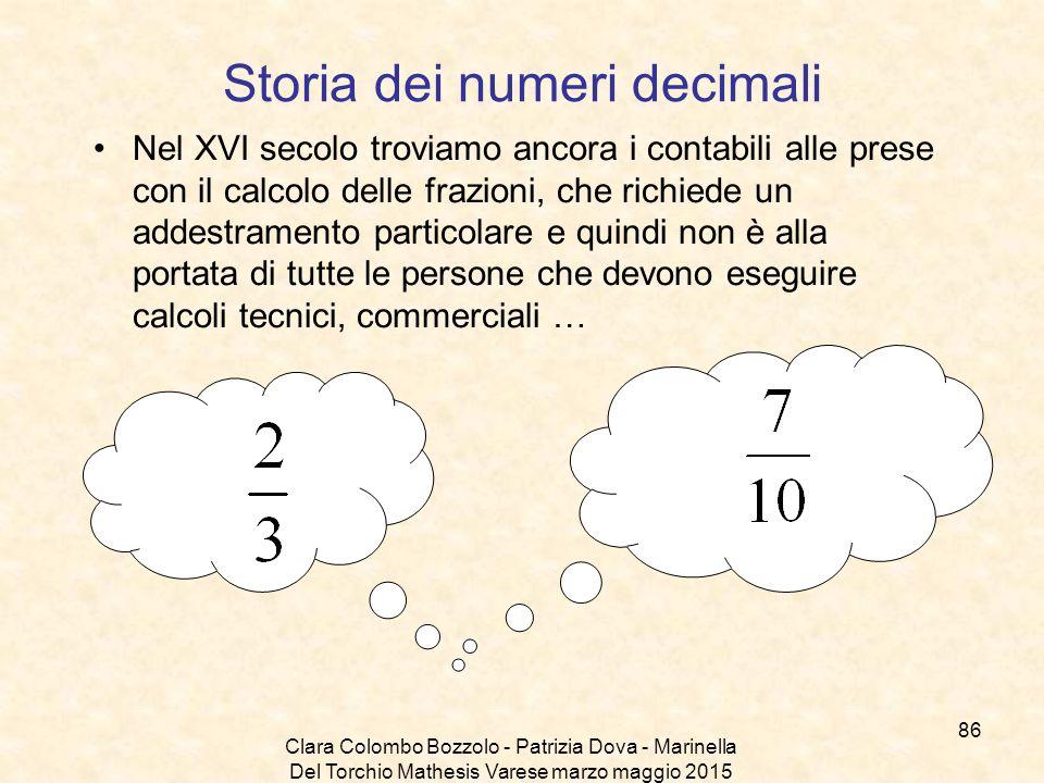 Clara Colombo Bozzolo - Patrizia Dova - Marinella Del Torchio Mathesis Varese marzo maggio 2015 Storia dei numeri decimali Nel XVI secolo troviamo anc