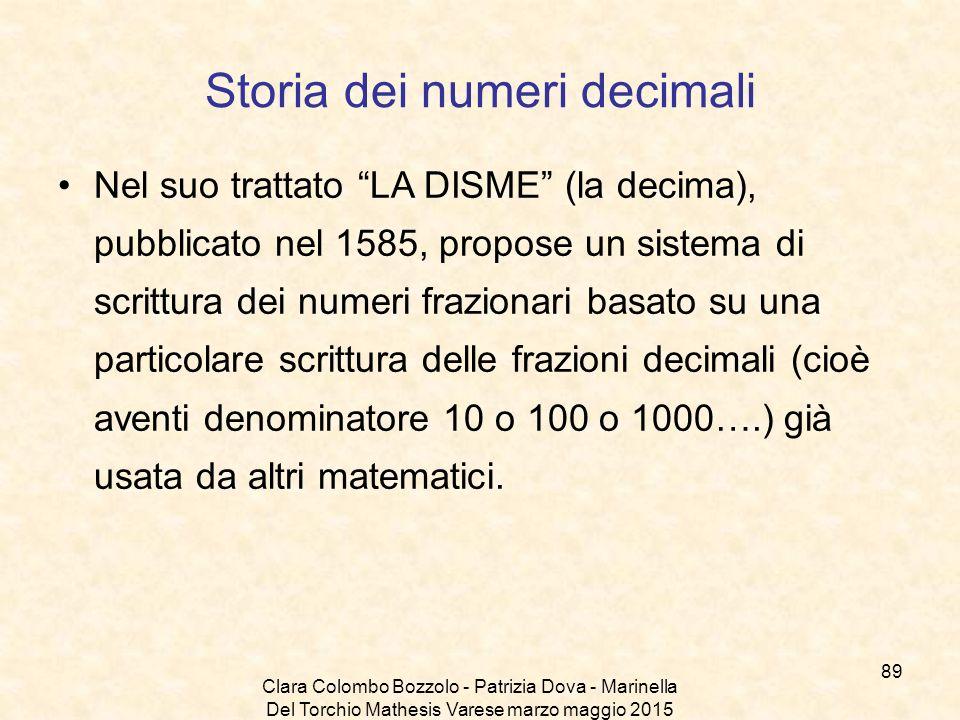 """Clara Colombo Bozzolo - Patrizia Dova - Marinella Del Torchio Mathesis Varese marzo maggio 2015 Storia dei numeri decimali Nel suo trattato """"LA DISME"""""""