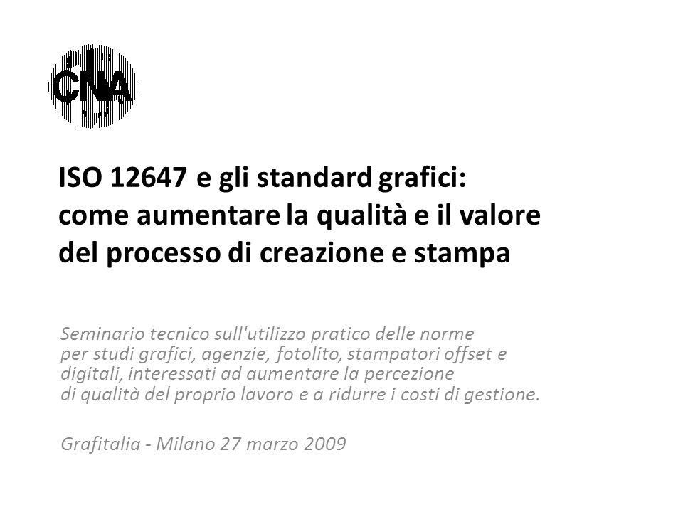 ISO 12647 e gli standard grafici: come aumentare la qualità e il valore del processo di creazione e stampa Seminario tecnico sull'utilizzo pratico del