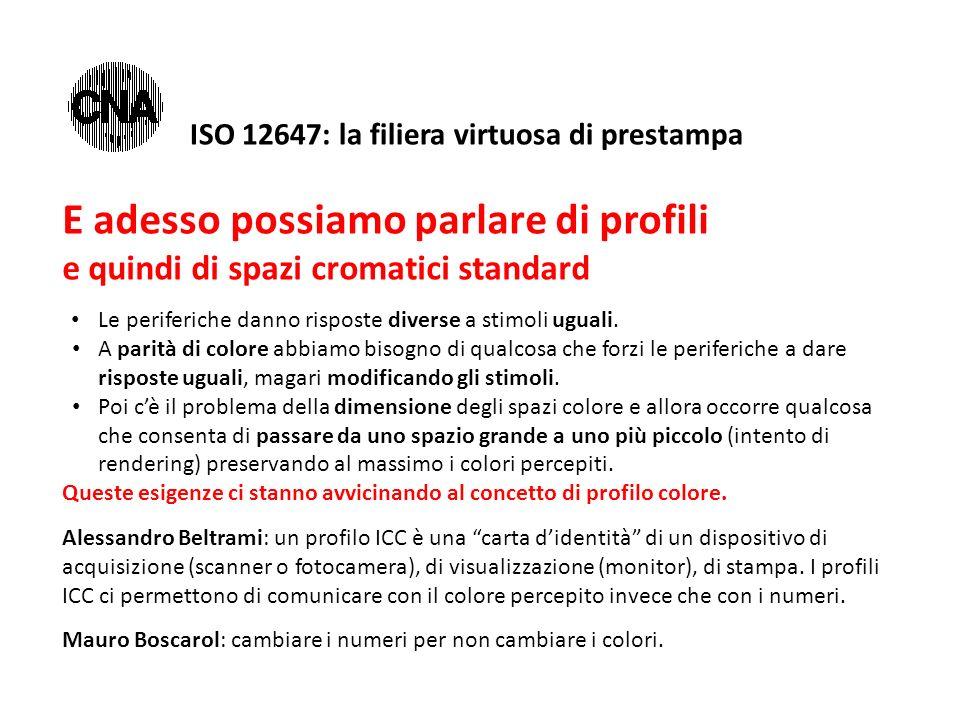 ISO 12647: la filiera virtuosa di prestampa E adesso possiamo parlare di profili e quindi di spazi cromatici standard Le periferiche danno risposte di