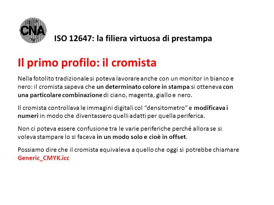 ISO 12647: la filiera virtuosa di prestampa Il primo profilo: il cromista Nella fotolito tradizionale si poteva lavorare anche con un monitor in bianco e nero: il cromista sapeva che un determinato colore in stampa si otteneva con una particolare combinazione di ciano, magenta, giallo e nero.