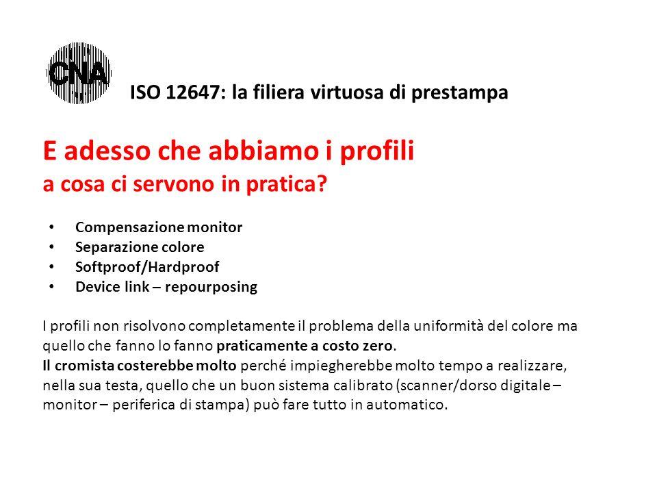 ISO 12647: la filiera virtuosa di prestampa E adesso che abbiamo i profili a cosa ci servono in pratica? Compensazione monitor Separazione colore Soft