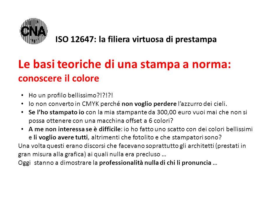 ISO 12647: la filiera virtuosa di prestampa Le basi teoriche di una stampa a norma: conoscere il colore Ho un profilo bellissimo?!?!?! Io non converto