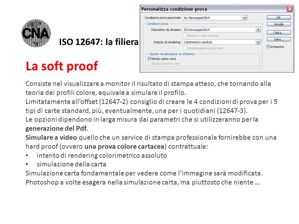 La soft proof Consiste nel visualizzare a monitor il risultato di stampa atteso, che tornando alla teoria dei profili colore, equivale a simulare il profilo.