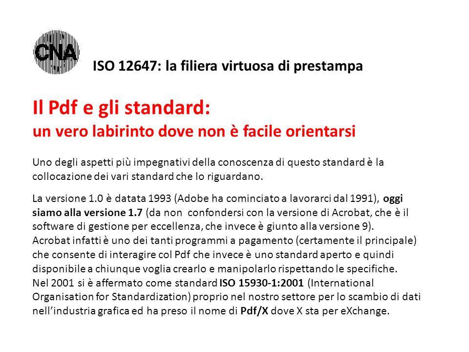 Il Pdf e gli standard: un vero labirinto dove non è facile orientarsi Uno degli aspetti più impegnativi della conoscenza di questo standard è la collocazione dei vari standard che lo riguardano.
