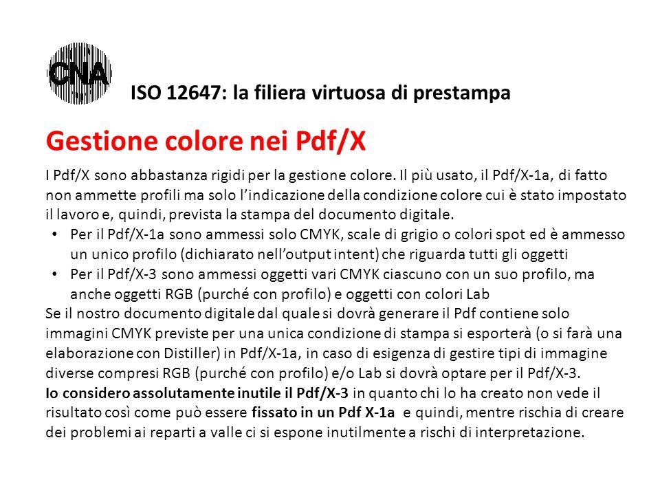 Gestione colore nei Pdf/X I Pdf/X sono abbastanza rigidi per la gestione colore. Il più usato, il Pdf/X-1a, di fatto non ammette profili ma solo l'ind