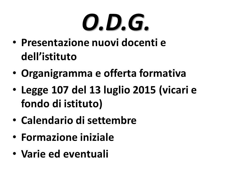 O.D.G. Presentazione nuovi docenti e dell'istituto Organigramma e offerta formativa Legge 107 del 13 luglio 2015 (vicari e fondo di istituto) Calendar