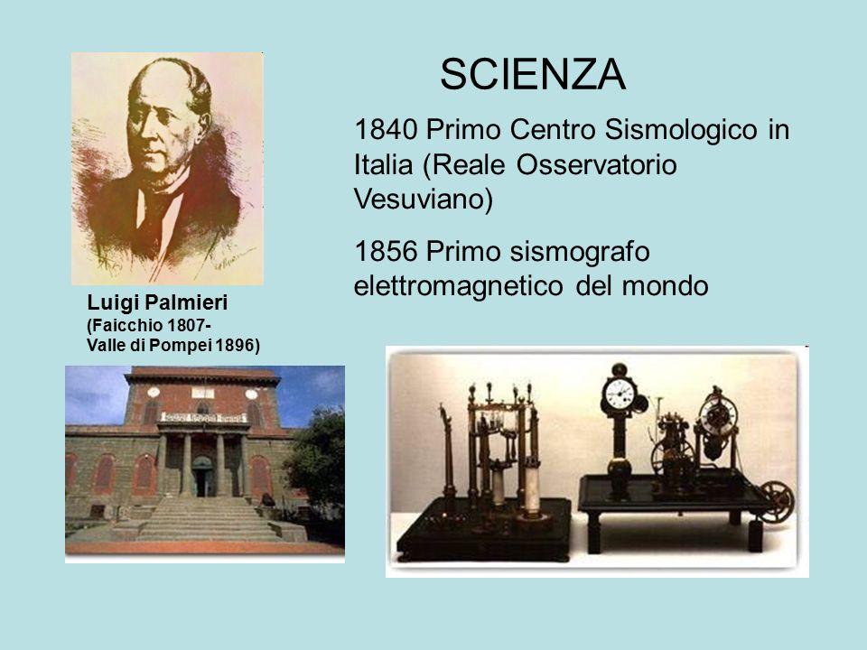 SCIENZA Luigi Palmieri (Faicchio 1807- Valle di Pompei 1896) 1840 Primo Centro Sismologico in Italia (Reale Osservatorio Vesuviano) 1856 Primo sismogr