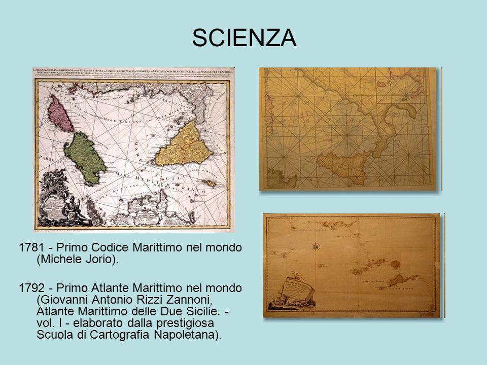 SCIENZA 1781 - Primo Codice Marittimo nel mondo (Michele Jorio). 1792 - Primo Atlante Marittimo nel mondo (Giovanni Antonio Rizzi Zannoni, Atlante Mar