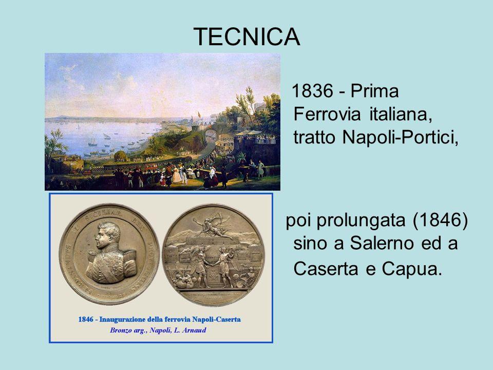 TECNICA 1836 - Prima Ferrovia italiana, tratto Napoli-Portici, poi prolungata (1846) sino a Salerno ed a Caserta e Capua.