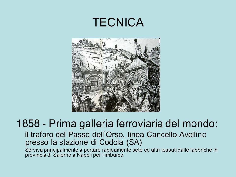 TECNICA 1858 - Prima galleria ferroviaria del mondo: il traforo del Passo dell'Orso, linea Cancello-Avellino presso la stazione di Codola (SA) Serviva