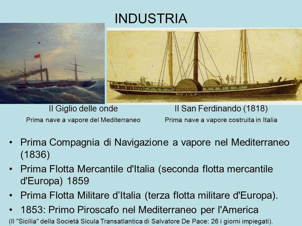 INDUSTRIA Il Giglio delle onde Prima nave a vapore del Mediterraneo. Prima Compagnia di Navigazione a vapore nel Mediterraneo (1836) Prima Flotta Merc