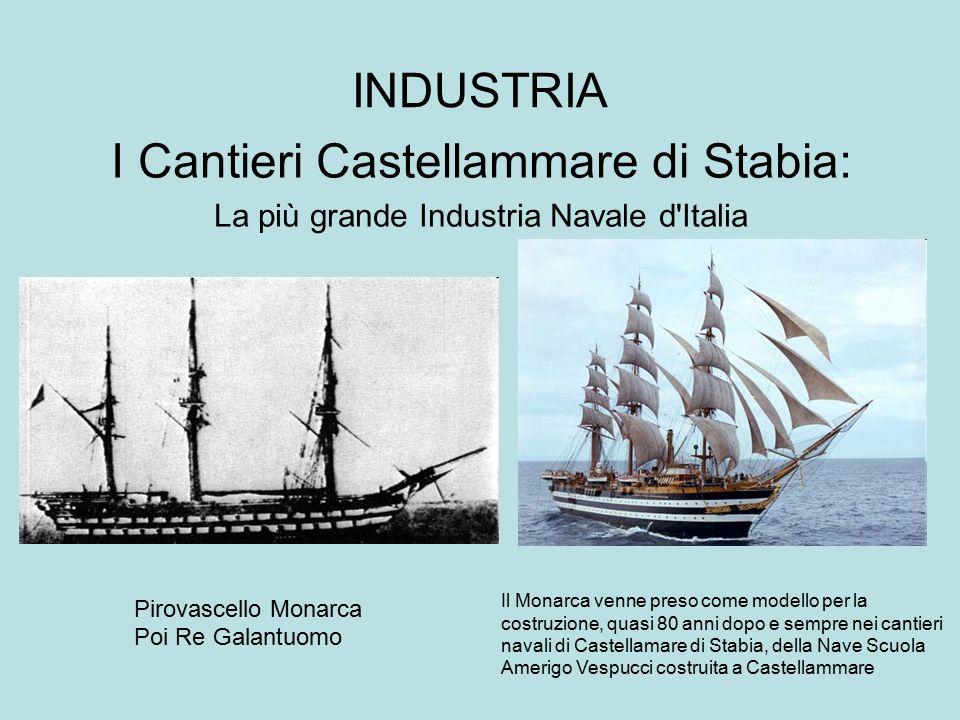 INDUSTRIA I Cantieri Castellammare di Stabia: La più grande Industria Navale d'Italia Pirovascello Monarca Poi Re Galantuomo Il Monarca venne preso co