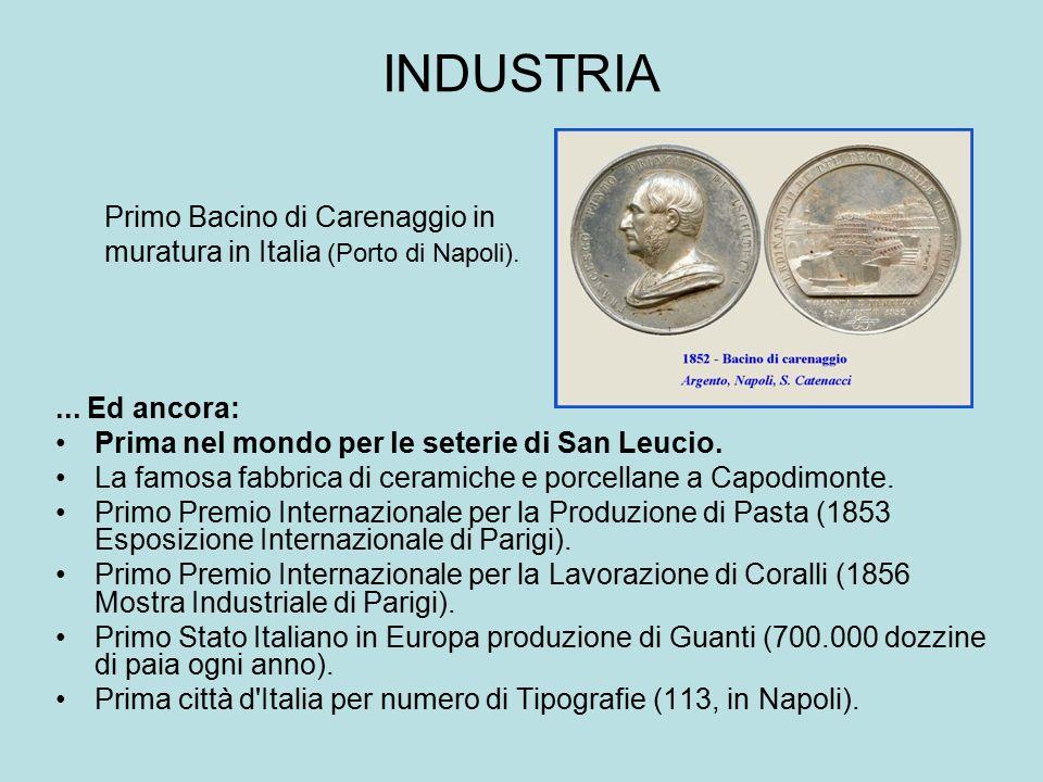 INDUSTRIA... Ed ancora: Prima nel mondo per le seterie di San Leucio. La famosa fabbrica di ceramiche e porcellane a Capodimonte. Primo Premio Interna