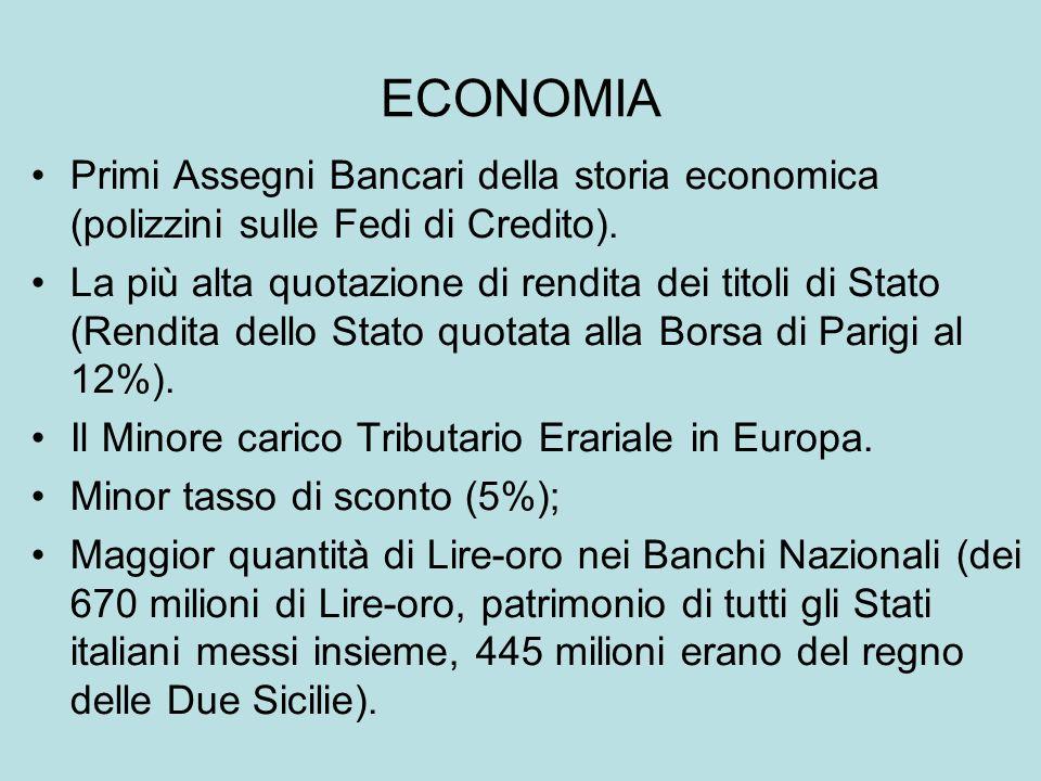 ECONOMIA Primi Assegni Bancari della storia economica (polizzini sulle Fedi di Credito). La più alta quotazione di rendita dei titoli di Stato (Rendit