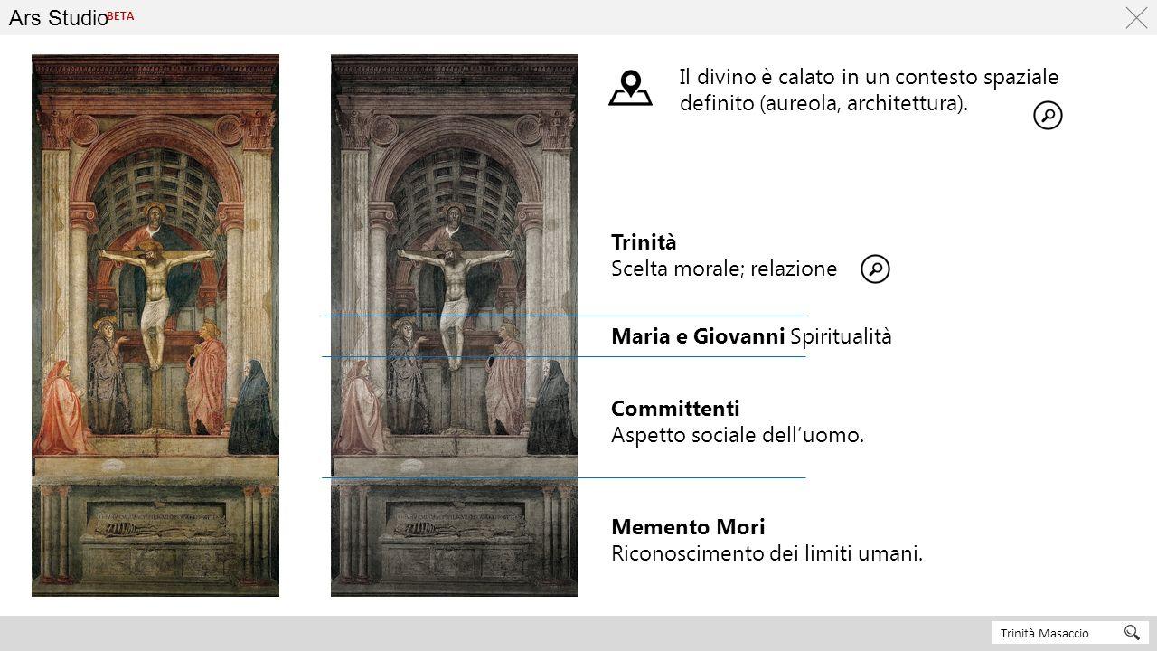 Ars Studio Trinità Masaccio BETA Memento Mori Riconoscimento dei limiti umani. Committenti Aspetto sociale dell'uomo. Trinità Scelta morale; relazione