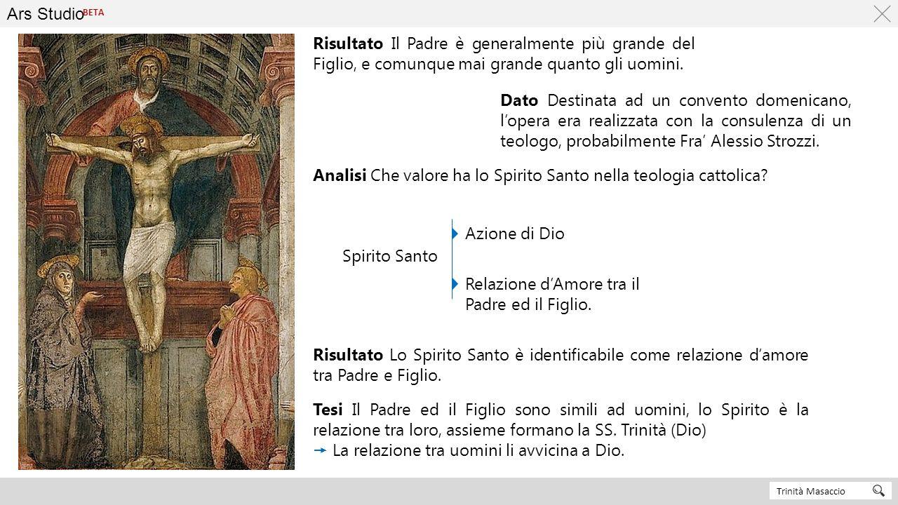 Ars Studio Trinità Masaccio BETA Risultato Il Padre è generalmente più grande del Figlio, e comunque mai grande quanto gli uomini. Analisi Che valore