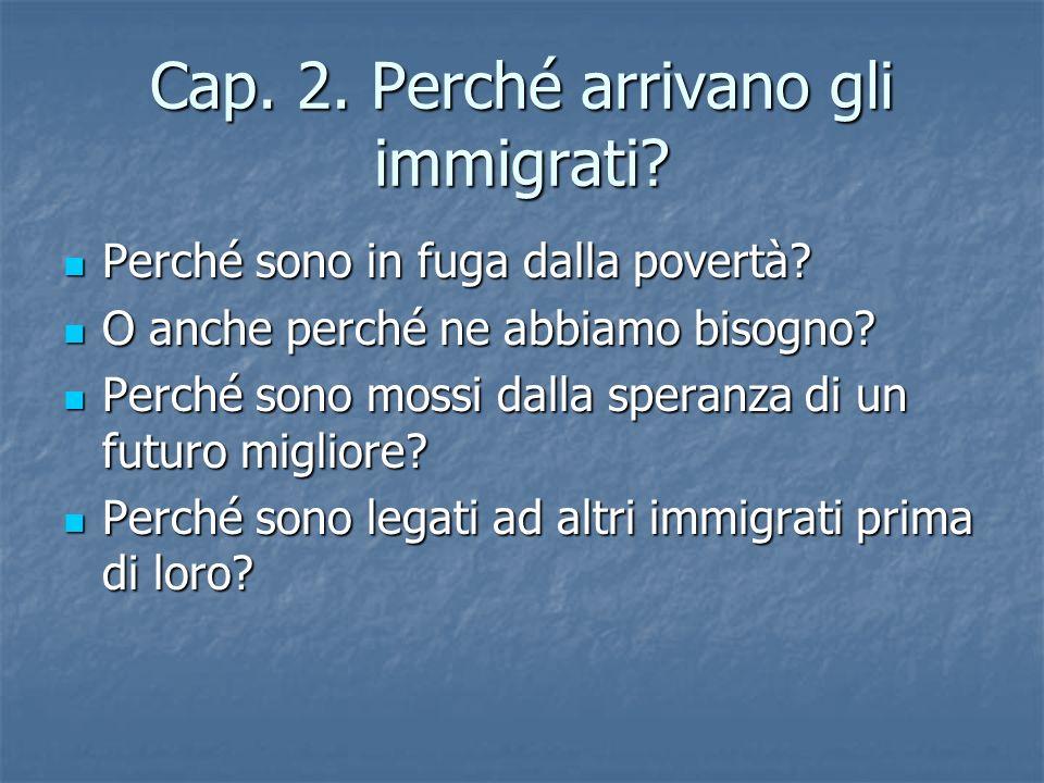 Cap. 2. Perché arrivano gli immigrati. Perché sono in fuga dalla povertà.