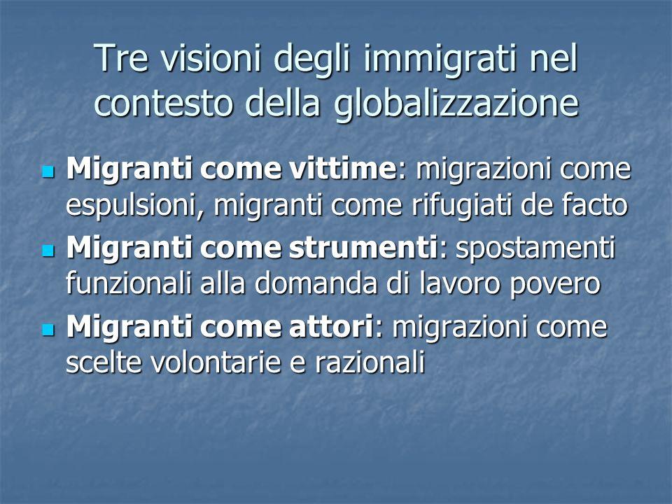 Tre visioni degli immigrati nel contesto della globalizzazione Migranti come vittime: migrazioni come espulsioni, migranti come rifugiati de facto Migranti come vittime: migrazioni come espulsioni, migranti come rifugiati de facto Migranti come strumenti: spostamenti funzionali alla domanda di lavoro povero Migranti come strumenti: spostamenti funzionali alla domanda di lavoro povero Migranti come attori: migrazioni come scelte volontarie e razionali Migranti come attori: migrazioni come scelte volontarie e razionali