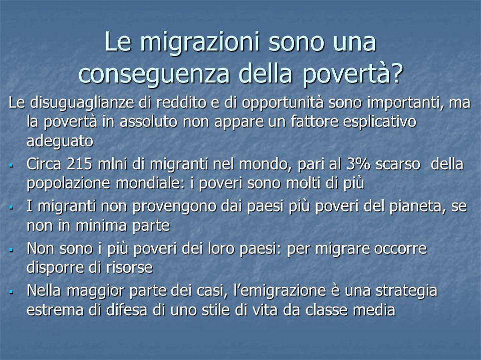 Le migrazioni sono una conseguenza della povertà.