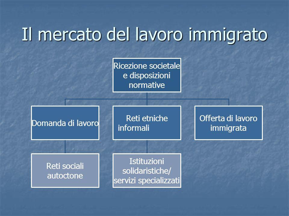 Il mercato del lavoro immigrato Ricezione societale e disposizioni normative Domanda di lavoro Reti sociali autoctone Reti etniche informali Istituzioni solidaristiche/ servizi specializzati Offerta di lavoro immigrata