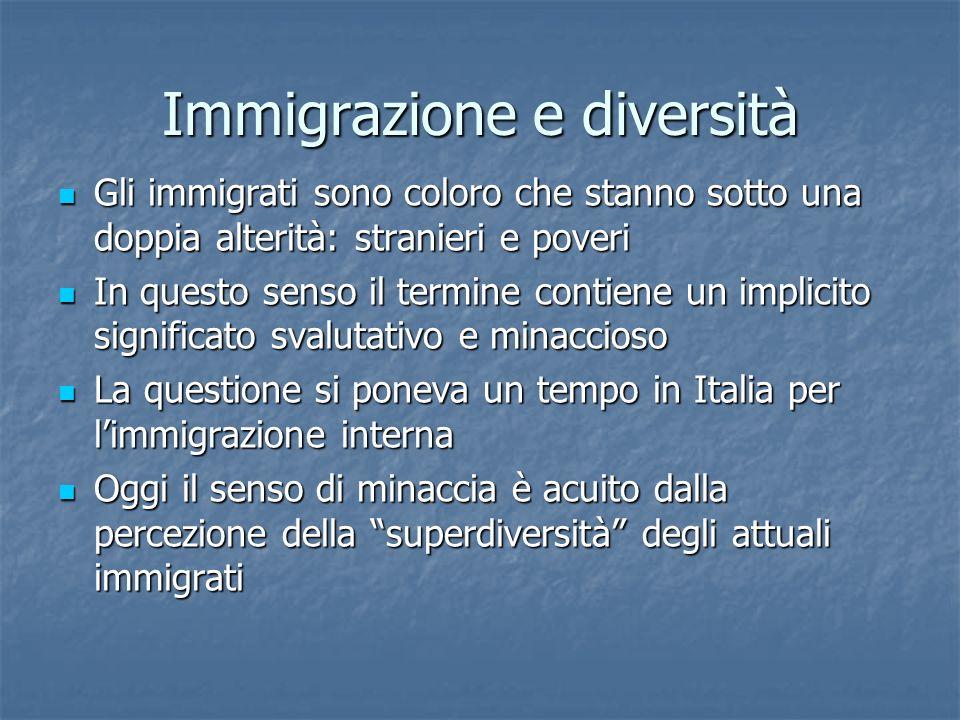 Immigrazione e diversità Gli immigrati sono coloro che stanno sotto una doppia alterità: stranieri e poveri Gli immigrati sono coloro che stanno sotto una doppia alterità: stranieri e poveri In questo senso il termine contiene un implicito significato svalutativo e minaccioso In questo senso il termine contiene un implicito significato svalutativo e minaccioso La questione si poneva un tempo in Italia per l'immigrazione interna La questione si poneva un tempo in Italia per l'immigrazione interna Oggi il senso di minaccia è acuito dalla percezione della superdiversità degli attuali immigrati Oggi il senso di minaccia è acuito dalla percezione della superdiversità degli attuali immigrati