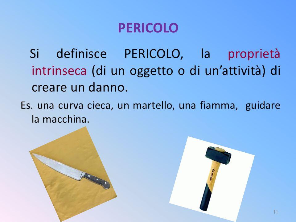 PERICOLO Si definisce PERICOLO, la proprietà intrinseca (di un oggetto o di un'attività) di creare un danno. Es. una curva cieca, un martello, una fia