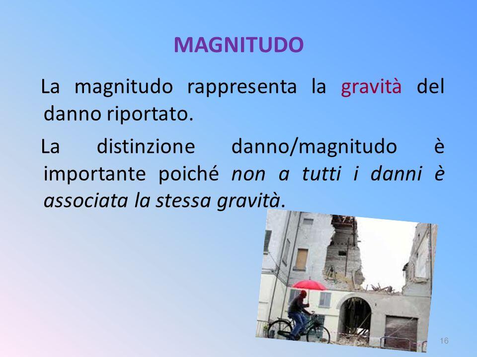 MAGNITUDO La magnitudo rappresenta la gravità del danno riportato. La distinzione danno/magnitudo è importante poiché non a tutti i danni è associata