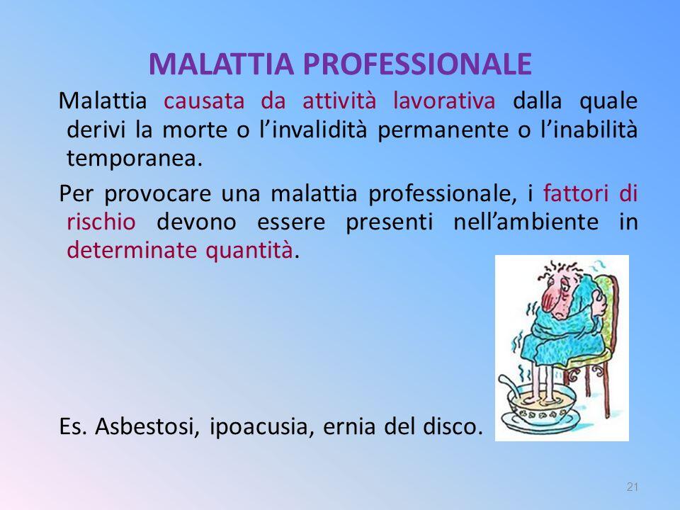 MALATTIA PROFESSIONALE Malattia causata da attività lavorativa dalla quale derivi la morte o l'invalidità permanente o l'inabilità temporanea. Per pro
