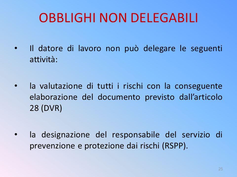 OBBLIGHI NON DELEGABILI Il datore di lavoro non può delegare le seguenti attività: la valutazione di tutti i rischi con la conseguente elaborazione de