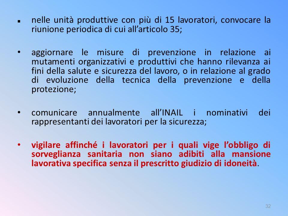 nelle unità produttive con più di 15 lavoratori, convocare la riunione periodica di cui all'articolo 35; aggiornare le misure di prevenzione in relazi