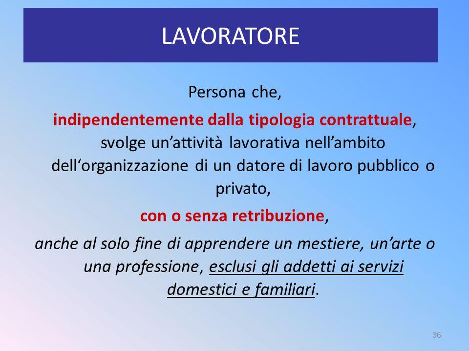 LAVORATORE Persona che, indipendentemente dalla tipologia contrattuale, svolge un'attività lavorativa nell'ambito dell'organizzazione di un datore di