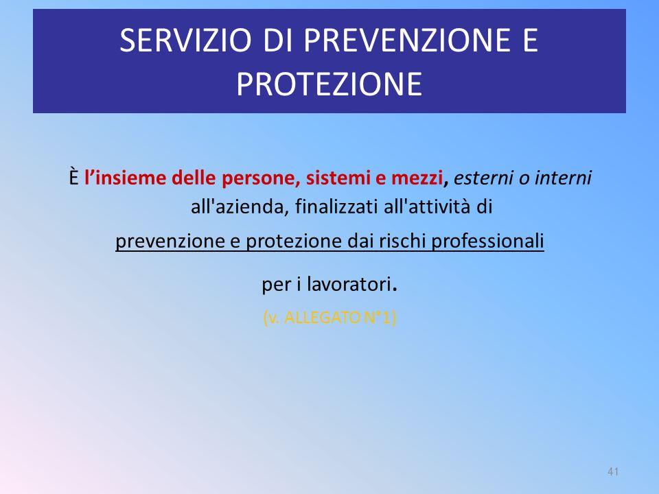 SERVIZIO DI PREVENZIONE E PROTEZIONE È l'insieme delle persone, sistemi e mezzi, esterni o interni all'azienda, finalizzati all'attività di prevenzion