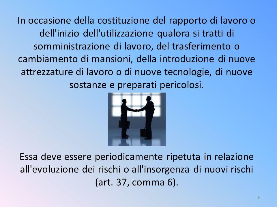In occasione della costituzione del rapporto di lavoro o dell'inizio dell'utilizzazione qualora si tratti di somministrazione di lavoro, del trasferim