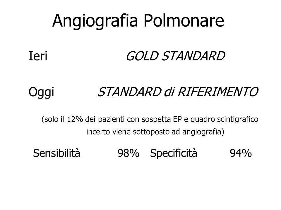 Angiografia Polmonare Ieri GOLD STANDARD Oggi STANDARD di RIFERIMENTO (solo il 12% dei pazienti con sospetta EP e quadro scintigrafico incerto viene s
