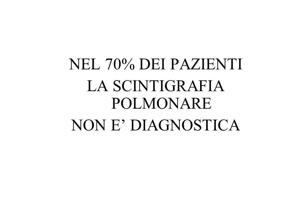NEL 70% DEI PAZIENTI LA SCINTIGRAFIA POLMONARE NON E' DIAGNOSTICA