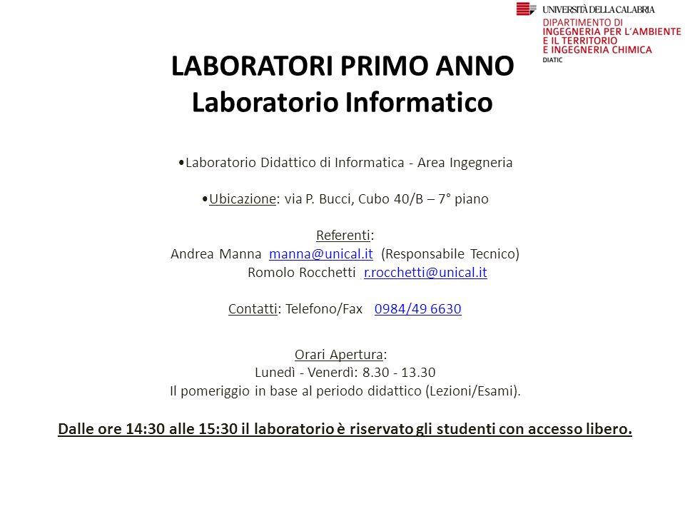 LABORATORI PRIMO ANNO Laboratorio Informatico Laboratorio Didattico di Informatica - Area Ingegneria Ubicazione: via P.