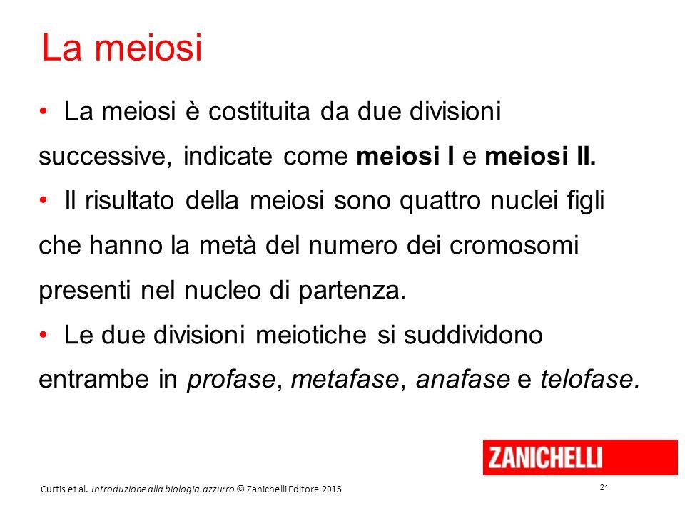 21 Curtis et al. Introduzione alla biologia.azzurro © Zanichelli Editore 2015 La meiosi La meiosi è costituita da due divisioni successive, indicate c