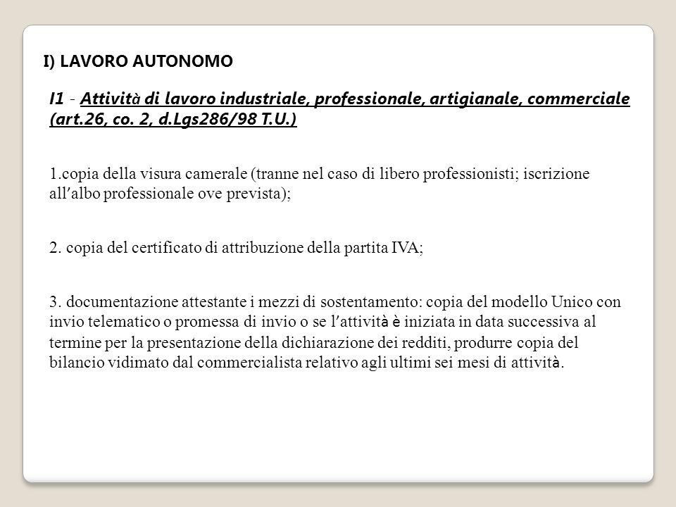 I) LAVORO AUTONOMO I1 - Attivit à di lavoro industriale, professionale, artigianale, commerciale (art.26, co. 2, d.Lgs286/98 T.U.) 1.copia della visur
