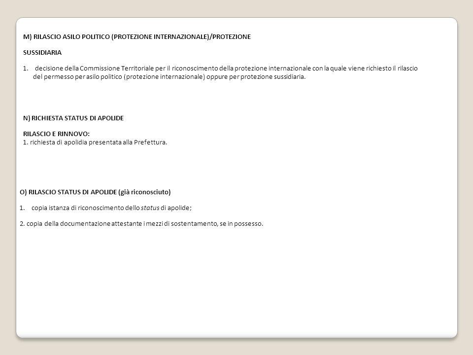 M) RILASCIO ASILO POLITICO (PROTEZIONE INTERNAZIONALE)/PROTEZIONE SUSSIDIARIA 1.decisione della Commissione Territoriale per il riconoscimento della p