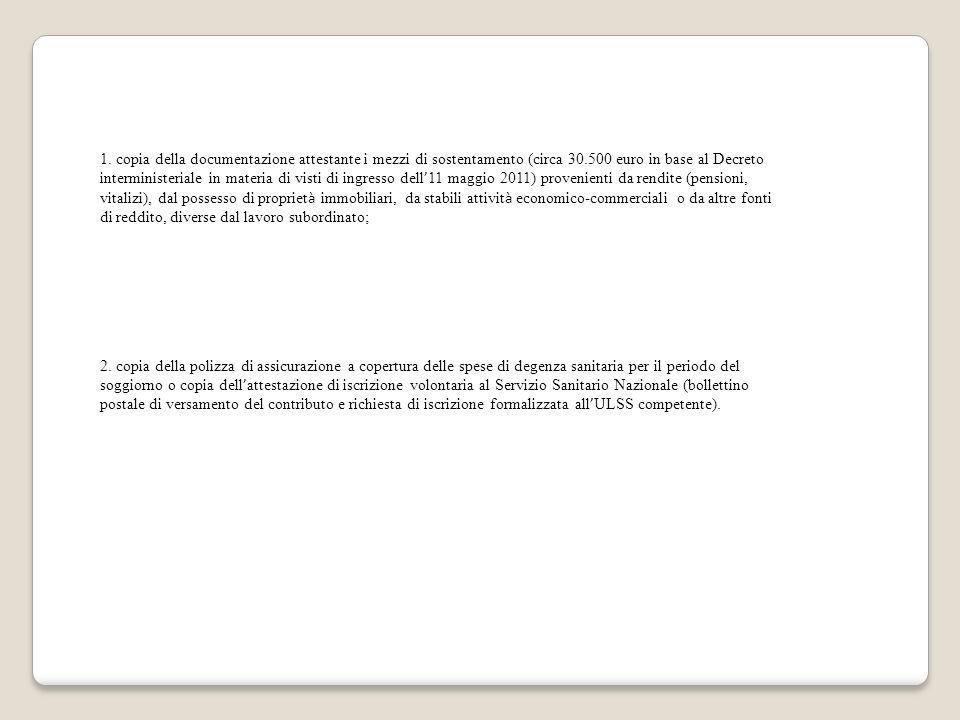 1. copia della documentazione attestante i mezzi di sostentamento (circa 30.500 euro in base al Decreto interministeriale in materia di visti di ingre