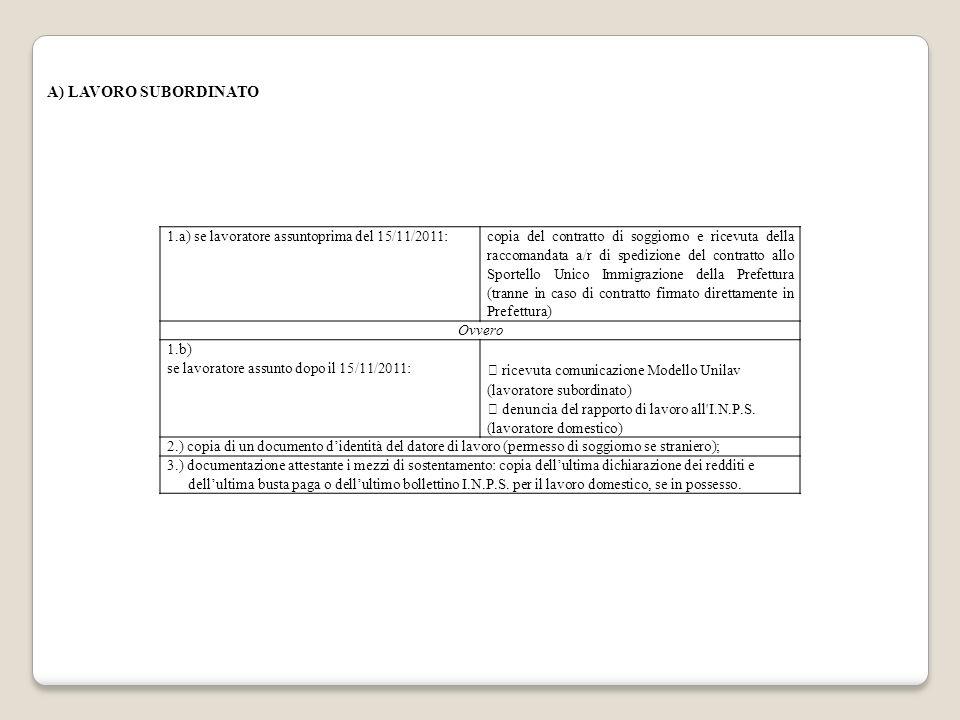 1.a) se lavoratore assuntoprima del 15/11/2011: copia del contratto di soggiorno e ricevuta della raccomandata a/r di spedizione del contratto allo Sp