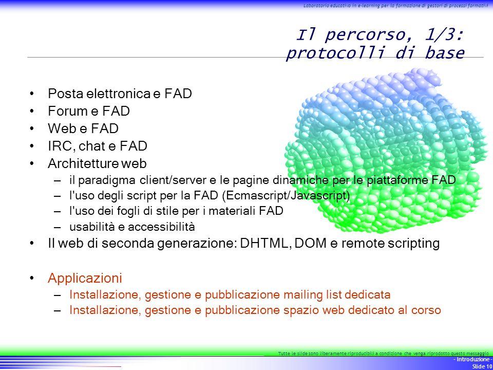 10 - Introduzione - Slide 10 Laboratorio educativo in e-learning per la formazione di gestori di processi formativi Tutte le slide sono liberamente ri