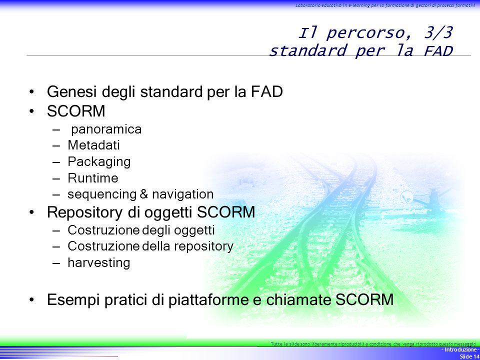 14 - Introduzione - Slide 14 Laboratorio educativo in e-learning per la formazione di gestori di processi formativi Tutte le slide sono liberamente ri