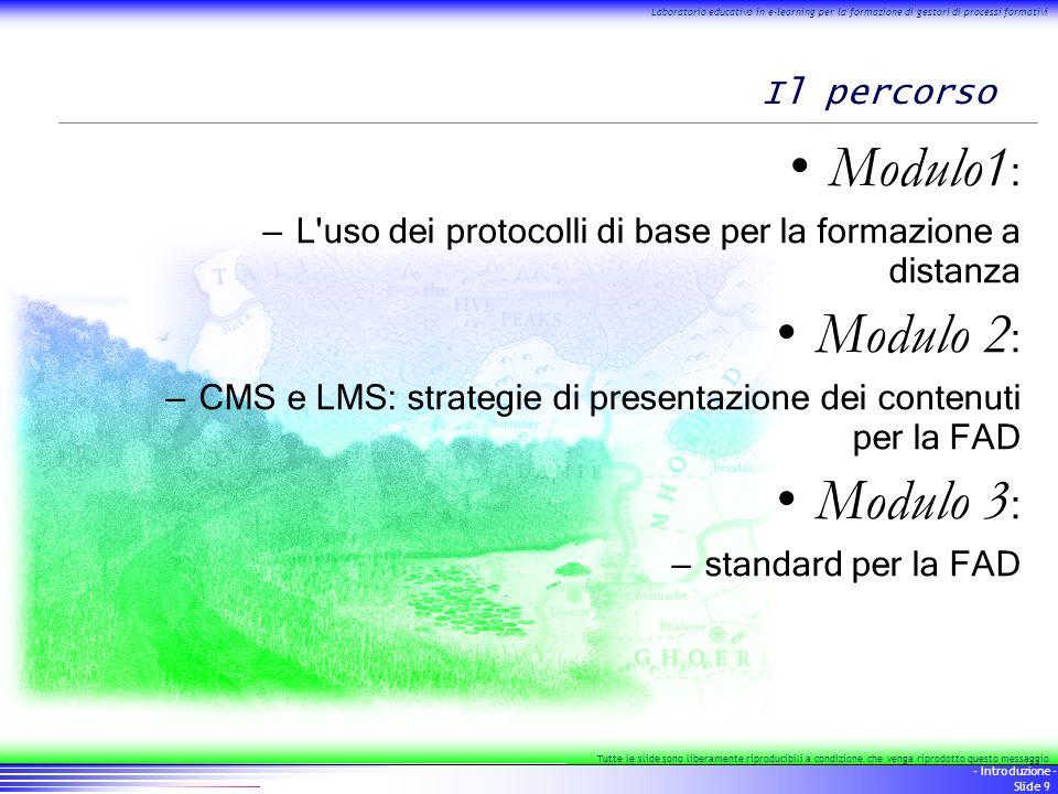 10 - Introduzione - Slide 10 Laboratorio educativo in e-learning per la formazione di gestori di processi formativi Tutte le slide sono liberamente riproducibili a condizione che venga riprodotto questo messaggio Il percorso, 1/3: protocolli di base Posta elettronica e FAD Forum e FAD Web e FAD IRC, chat e FAD Architetture web – il paradigma client/server e le pagine dinamiche per le piattaforme FAD – l uso degli script per la FAD (Ecmascript/Javascript) – l uso dei fogli di stile per i materiali FAD – usabilità e accessibilità Il web di seconda generazione: DHTML, DOM e remote scripting Applicazioni – Installazione, gestione e pubblicazione mailing list dedicata – Installazione, gestione e pubblicazione spazio web dedicato al corso