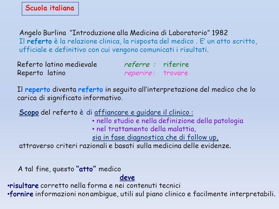 """Scuola italiana Angelo Burlina """"Introduzione alla Medicina di Laboratorio"""" 1982 Il referto è la relazione clinica, la risposta del medico. E' un atto"""
