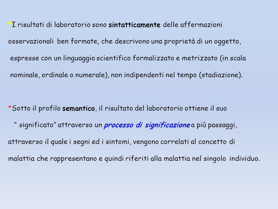 *I risultati di laboratorio sono sintatticamente delle affermazioni osservazionali ben formate, che descrivono una proprietà di un oggetto, espresse c