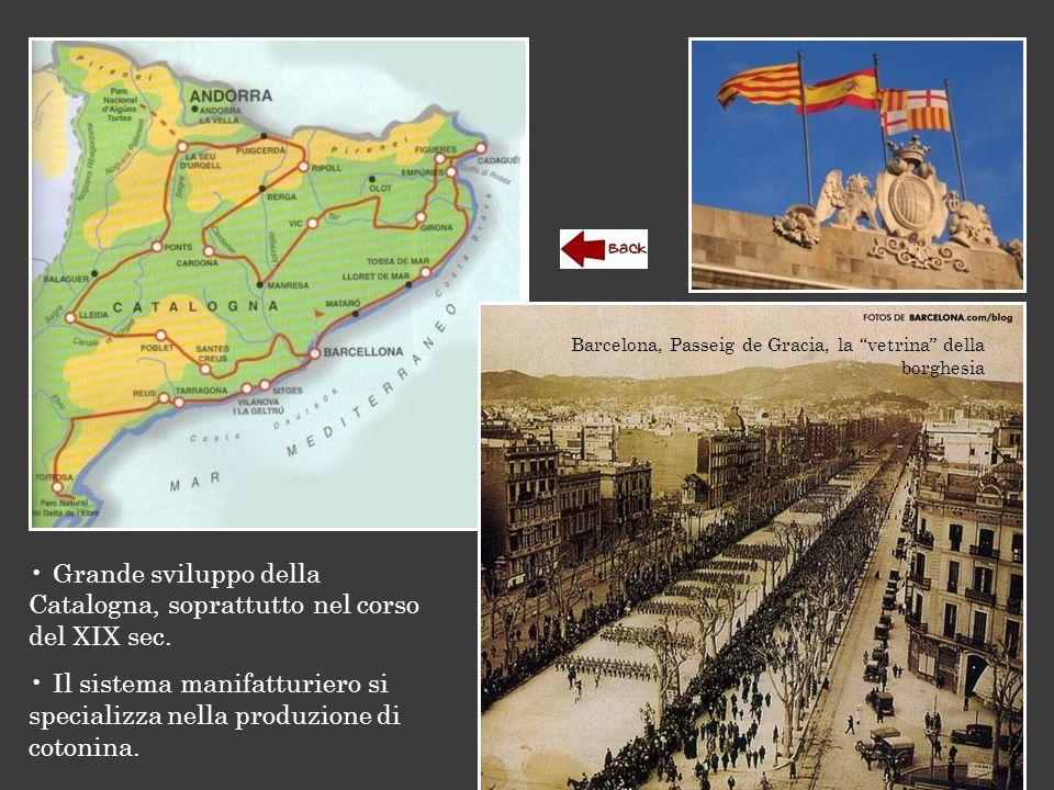 """Barcelona, Passeig de Gracia, la """"vetrina"""" della borghesia Grande sviluppo della Catalogna, soprattutto nel corso del XIX sec. Il sistema manifatturie"""