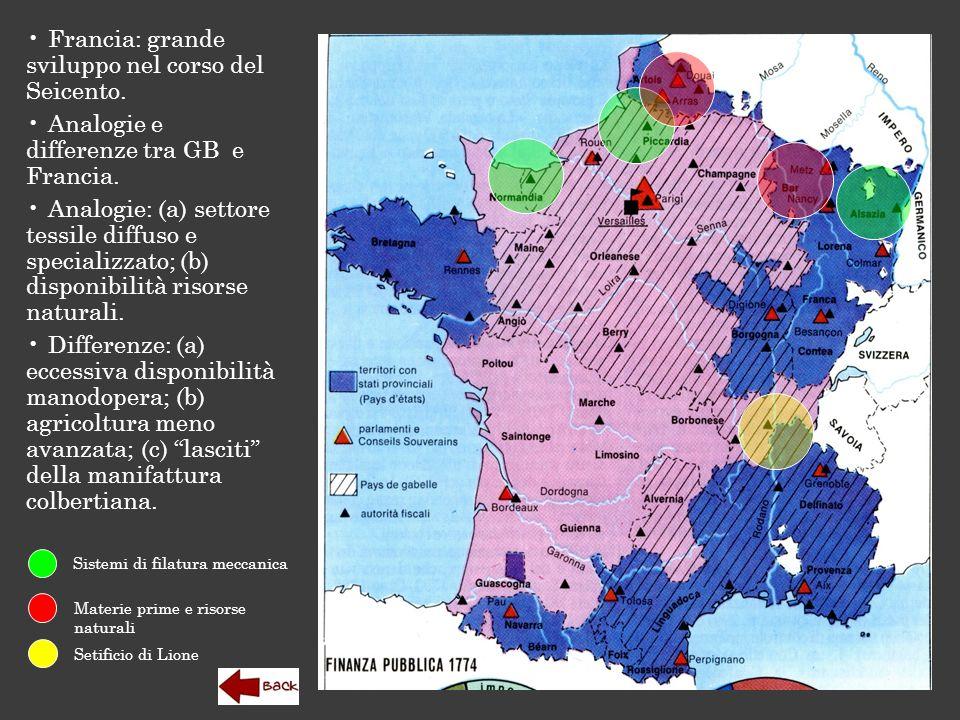 Francia: grande sviluppo nel corso del Seicento. Analogie e differenze tra GB e Francia. Analogie: (a) settore tessile diffuso e specializzato; (b) di